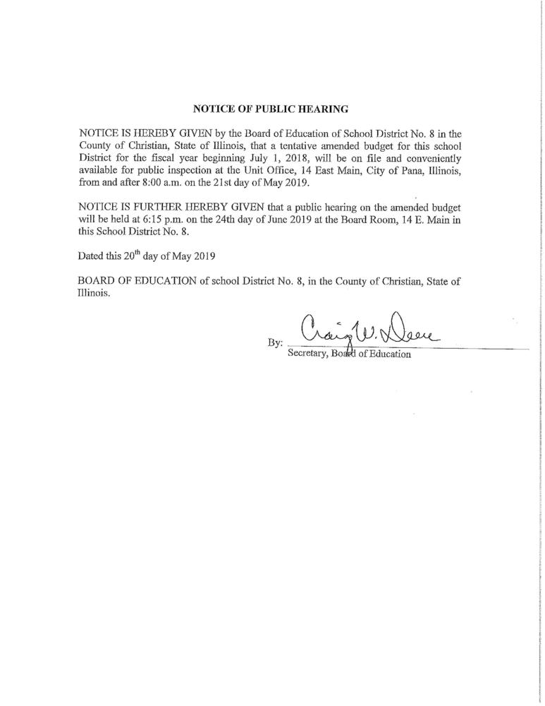 NOTICE of Public Amended Budget Hearing for June 24, 2019