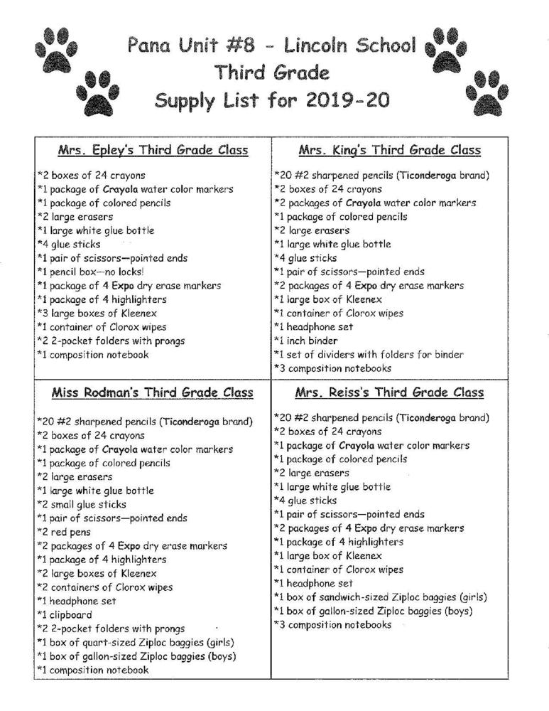 Lincoln - Third Grade Supply List 2019-2020