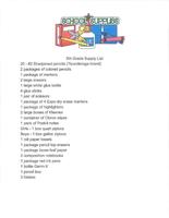Fifth Grade Supply List 2019-2020