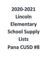 20-21 Pana CUSD #8 Lincoln Elementary School Supply Lists