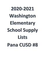 20-21 Pana CUSD #8 Washington Elementary Supply Lists