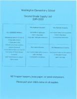 Second Grade Supply List 2019-2020