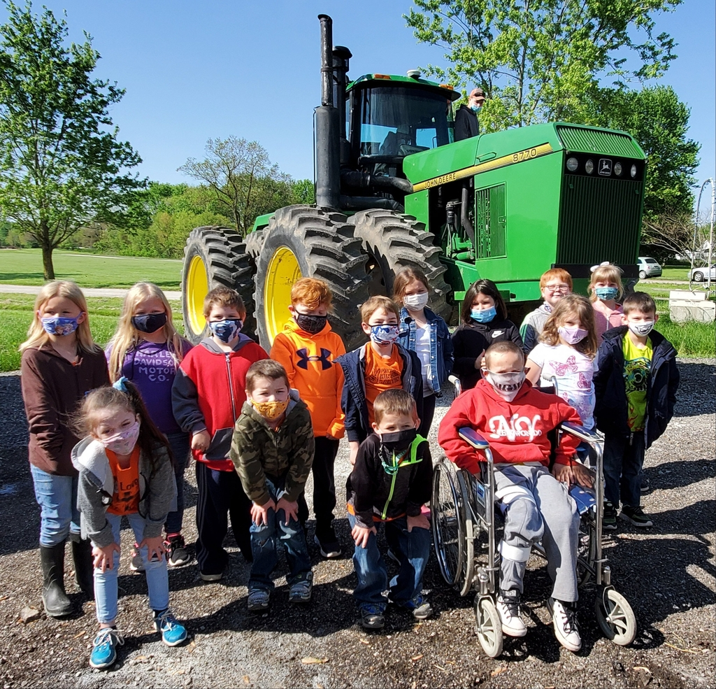 students and tractor