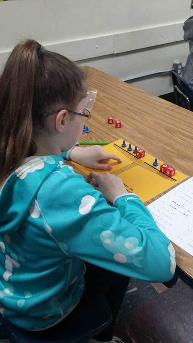 6th grade student using Hands-on Equations to solve equations