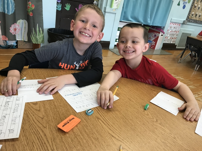 Hunter and Ryker writing their thank you cards!
