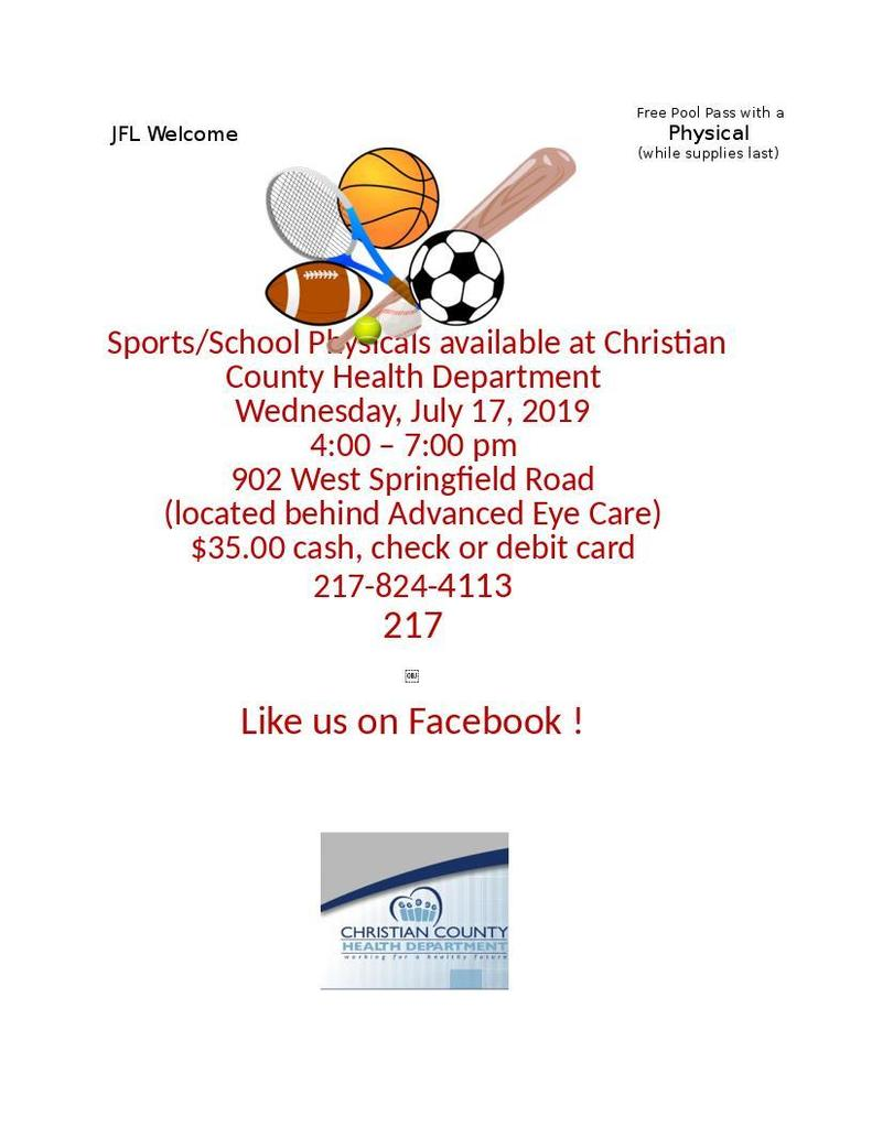July 17, 2019 CCHD School/Sports Physicals Clinic