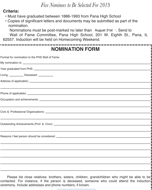 Wall of Fame Nomination Form