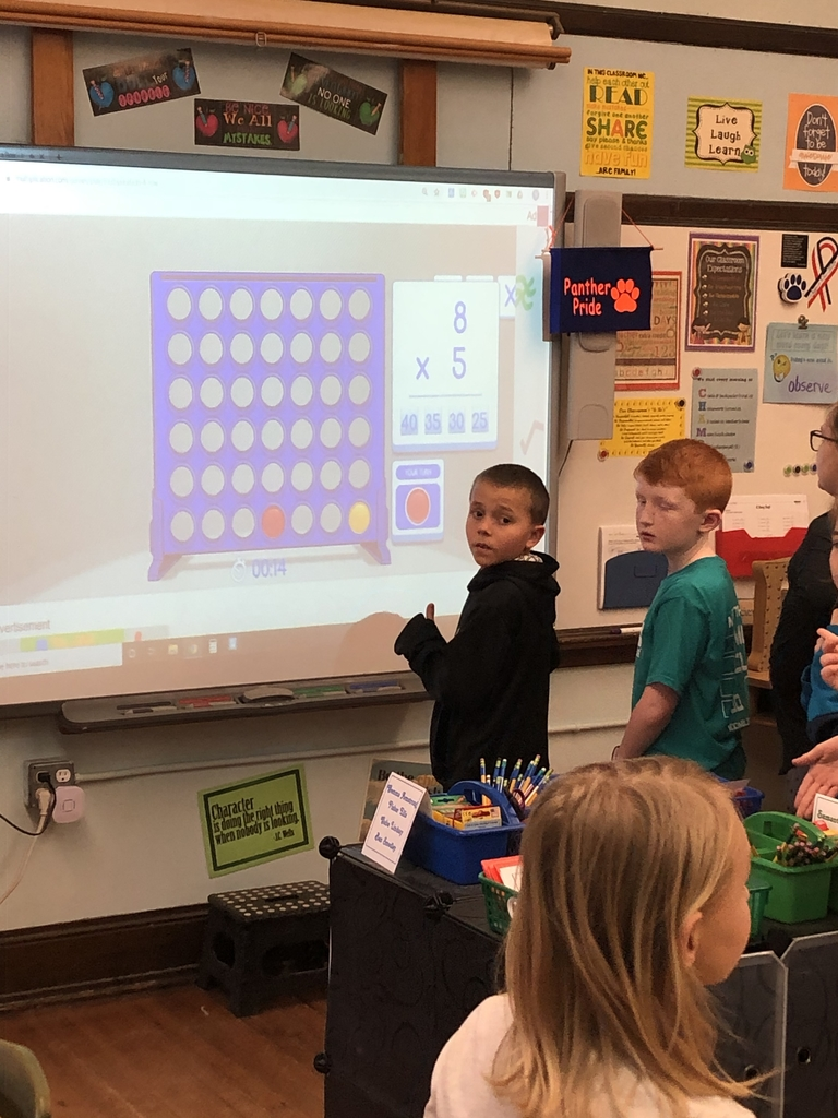 Playing connect four against the computer to practice our facts.
