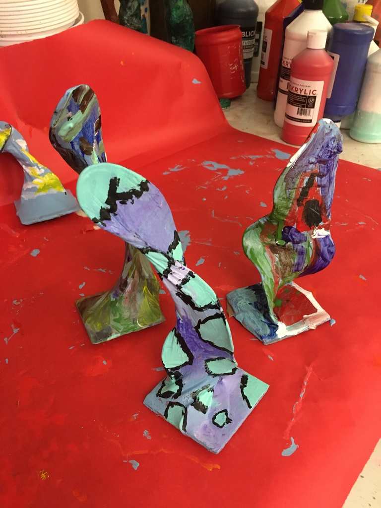 4th grade Art students are working on 3-D organic sculptures