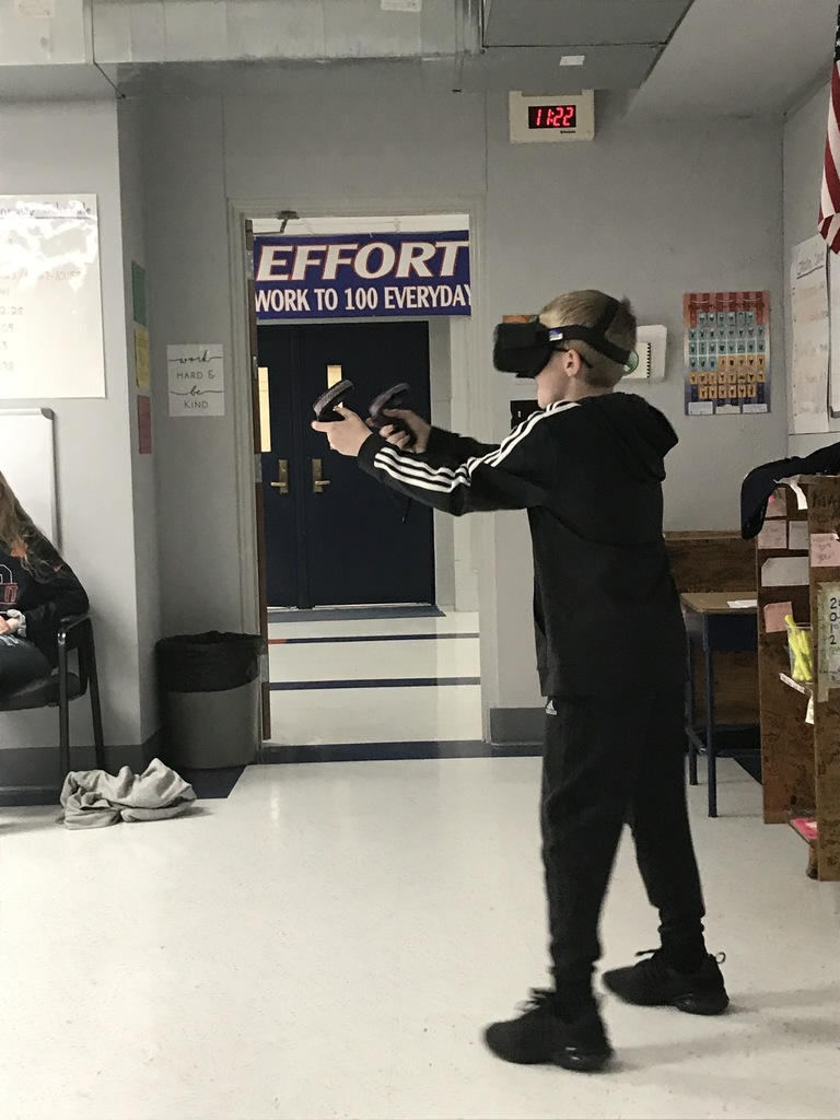 Students experimenting with VR