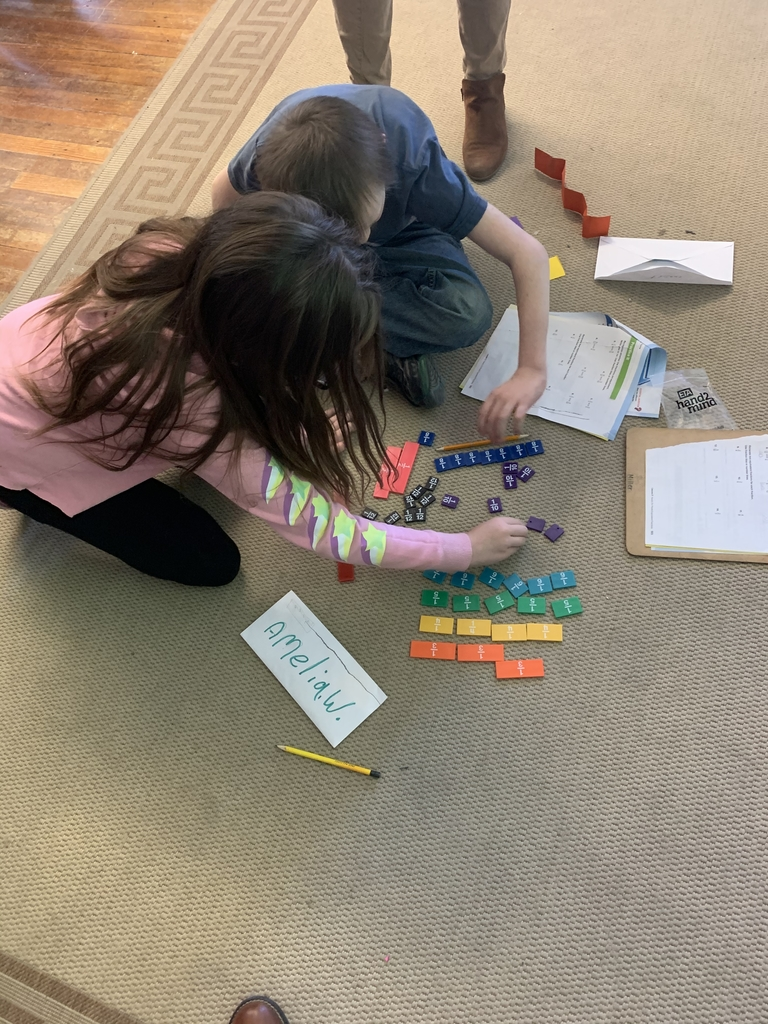 Student using fraction manipulatives